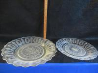 2 CLEAR GLASS VICTORIAN BREAD PLATES