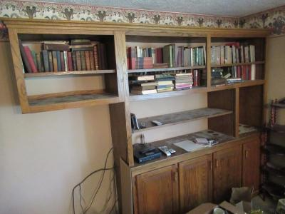 LARGE WOODEN CABINET WITH SHELVES - DEN