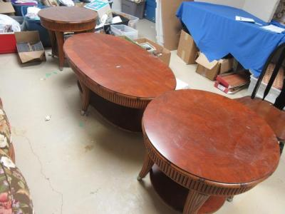 B - COFFEE TABLE AND 2 END TABLES