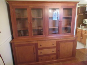 LARGE WOODEN CHINA CABINET WITH GLASS FRONT DOORS