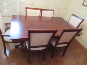 KUOLIN DINING TABLE AND 6 UPHOLSTERED CHAIRS - DR