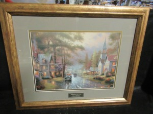 THOMAS KINKADE FRAME PRINT HOMETOWN EVENING