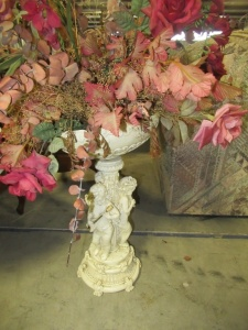 CHERUB STATUE WITH ARTIFICIAL FLOWERS