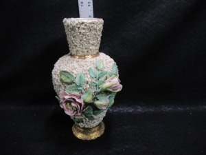 ORNATE FLOWER SAND MAJOLICA VASE