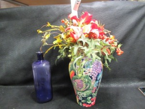 FLOWER VASE AND BLUE GLASS BOTTLE