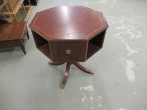 OCTAGON STYLE TABLE WITH LEATHER TOP