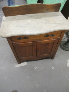 MARBLE TOP OAK WASH STAND
