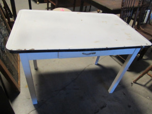 ENAMEL TOP TABLE WITH DRAWER