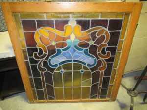 WOOD FRAMED LEADED STAINED GLASS