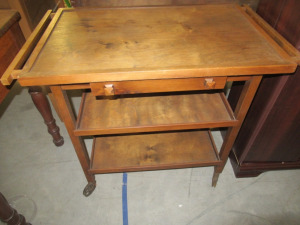 WOODEN SERVING CART WITH DRAWER