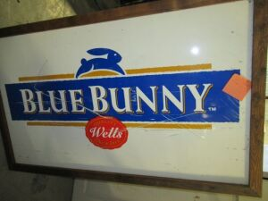 FRAMED BLUE BUNNY ICE CREAM SIGN