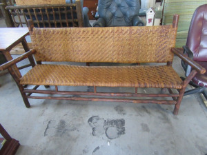 VERY EARLY O WICKER BENCH
