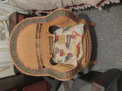 WICKER CHAIR WITH HOMEMADE CUSHION