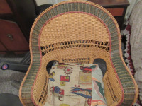 WICKER CHAIR WITH HOMEMADE CUSHION - 2