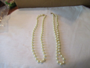2 COSTUME PEARL NECKLACES
