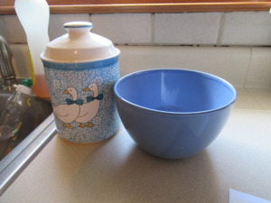 MOTHER GOOSE CANISTER AND BLUE BOWL