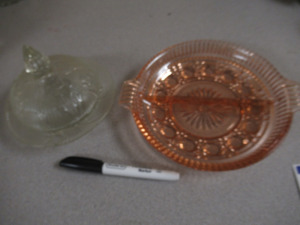 PINK GLASS SERVING DISH