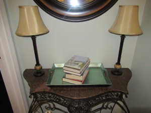 LAMPS , TRAY, BOOKS
