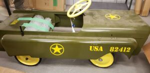 antique metal U.S. Army pedal car