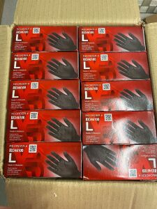 10 Boxes of X3 Black Industrial Nitrile gloves