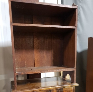Shelf and wooden cabinet