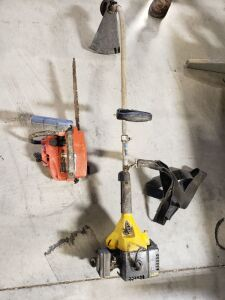 String trimmer and chain saw.