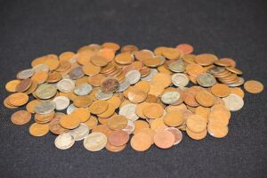 ASSORTED PENNIES, DIMES AND NICKELS