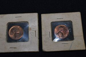 2 LINCOLN PENNIES WITH STAMPED MARKINGS