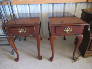 2 WOODEN CHERRY END TABLES