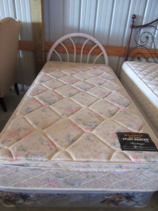 TWIN SIZE BED FRAME WITH WHITE METAL HEAD BOARD
