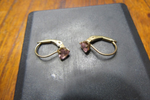 14K - GOLD EARRINGS - PINK STONE - MARKED 14K -