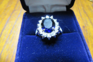 SILVER RING - BLUE & DIAMOND STONES - SIZE 6 -