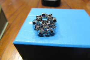 SILVER RING - BLUE & DIAMOND STONES - SZ 6 -