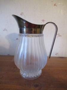 GLASS PITCHER WITH SILVER TONE SPOUT - BR2