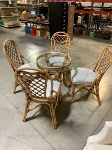 RATAN  GLASS TOP TABLE AND 4 CHAIRS WITH CUSHION SEATS
