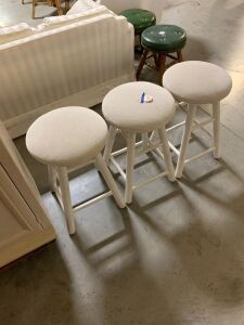 3 UPHOLSTERED TOP BAR STOOLS