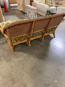 WICKER RATAN CHAIR, COUCH AND FOOT REST.
