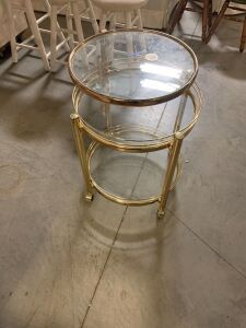 BRASS MID CENTURY MODERN SERVING CART ON ROLLERS