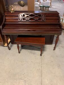 GRINNELL BROS PIANO, BENCH, AND LAMP