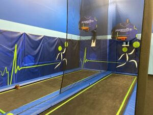 Double Basketball Goal Trampoline Court