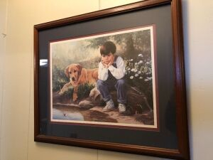 LITTLE BOY WITH DOG PRINT