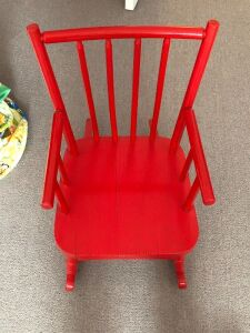 SMALL WOOD RED ROCKING CHAIR