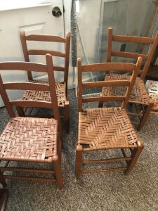 HAND HEWED OAK SPLINT BOTTOM CHAIRS  (4)