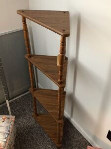 WOOD CORNER SHELF WITH 4 SHELVES