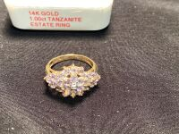 14K GOLD 1.00CT TANZANITE ESTATE RING - 3