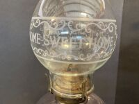 VINTAGE  OIL LAMP WITH 'HOME SWEET HOME' CHIMNEY - 2