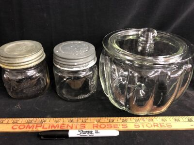 HALF PINT BALL JARS WITH ZINC LIDS AND CLEAR CANISTER JAR W/ LID