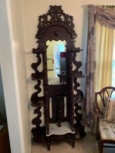 ANTIQUE VICTORIAN ETAGERE WITH MIRROR