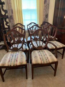 MAHOGANY CHAIRS WITH PADDED SEATS