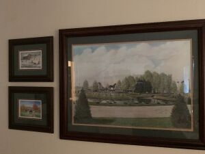 ARTIST PROFF THE KENTUCKY HORSE PARK PRINT AND 2 SMALL FRED THRASHER PRINTS